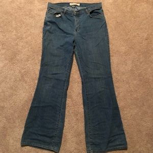 Stretch Flare Blue Jeans, 16 Tall